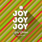Christmas greeting with long shadow on a striped multicolored background