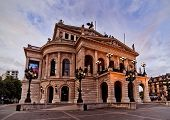 perspective view of the old opera building at dawn in Frankfurt, Germany