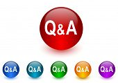 question answer internet icons colorful set