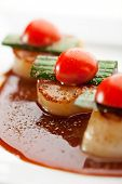 Appetizer - Sea Scallop with Teriyaki Sauce and Cherry Tomato