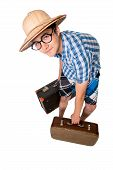 A Young Attractive Man With Glasses And Two Suitcases Ready To Travel.