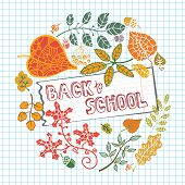 Back to school circle composition.Leaves,Lined notepaper