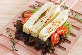 Brazilian Grilled Cheese Snack Queijo Coalho, Tomato On Cutting Board