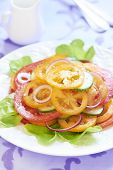 Tomato salad with onion and cucumber