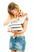 Girl With textbooks Isolated On White Background