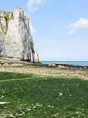 Cliff On English Channel Beach During Low Tide
