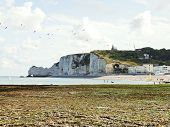 etretat Village And Cliff On English Channel