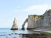 Scenic With Natural Cliff On English Channel Beach