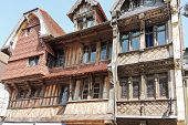 Old Medieval Half-timbered House In etretat Town