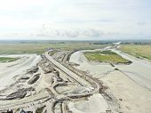picture of mont saint michel  - above view of road to mont saint - JPG