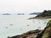 Yacht Near Coastline Of English Channel, Brittany