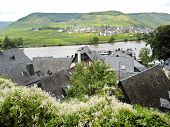 stock photo of moselle  - Beilstein and Ellenz Poltersdorf villages on Moselle river Germany - JPG