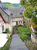 image of moselle  - typical houses on narrow street in Beilstein village Moselle region Germany - JPG