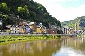 stock photo of moselle  - waterfront in Cochem town on Moselle river Germany - JPG