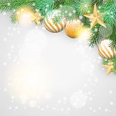 Christmas Background With Branches And Golden Ornaments
