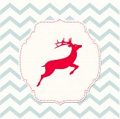 Red Deer On Beige Background, Christmas Illustration