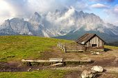 picture of chalet  - Morning view from Sexten Dolomites with chalet  - JPG