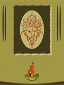 Durga Diwali Greeting Vector Art