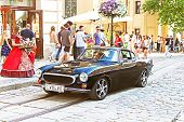 Retro Volvo Car On The Street In Lviv On The Frame Of Classic Car Festival
