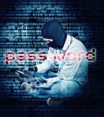 hacker with tablet and abstract background