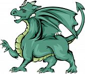 Illustration Featuring a Green Dragon