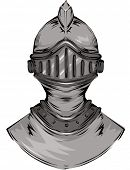 Illustration Featuring the Helmet of a Knight