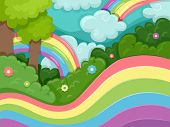 Illustration Featuring Rainbow Swirls Surrounding a Forest