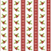 Christmas seamless pattern with holly berries and snowflakes