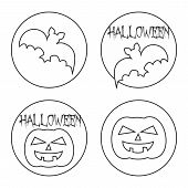 Hand drawn Halloween web button or sign vector set with pumpkin and bat