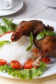 image of roast duck  - roasted duck leg with rice and tomatoes on a plate close up vertical - JPG