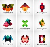 Colorful geometric shape icon collection, company branding logo design set