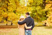 love, relationship, family and people concept - smiling couple hugging in autumn park from back