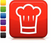 Chef's Hat Icon On Square Internet Button