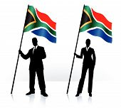 Business Silhouettes With Waving Flag Of South Africa