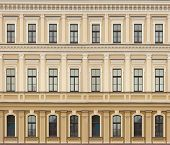 Neoclassic Architecture Wall With Windows Vintage Background
