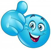 Blue ball showing thumb up