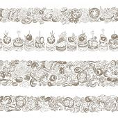 Collection of kitchen seamless horizontal borders, hand-drawn illustration in vintage style.