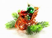 Christmas composition with holiday decorations and gifts