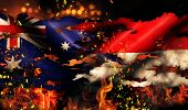 Australia Indonesia Flag War Torn Fire International Conflict 3D