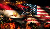 Egypt Usa Flag War Torn Fire International Conflict 3D