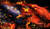 Europe China Flag War Torn Fire International Conflict 3D