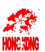 Hong Kong map flag and text vector illustration