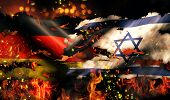 Germany Israel Flag War Torn Fire International Conflict 3D