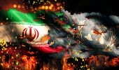 Iran Un Flag War Torn Fire International Conflict 3D