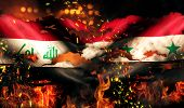Iraq Syria Flag War Torn Fire International Conflict 3D