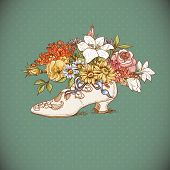 Vintage Background with Flowers and Shoes