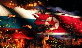 Russia North Korea Flag War Torn Fire International Conflict 3D