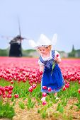 Little Girl In A National Dutch Costume In Tulips Field With Windmill
