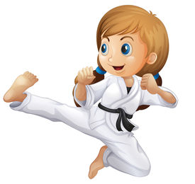 stock photo of karate-do  - Illustration of a young girl doing karate on a white background - JPG