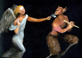 stock photo of groping  - an angel try a satyr with his feather - JPG